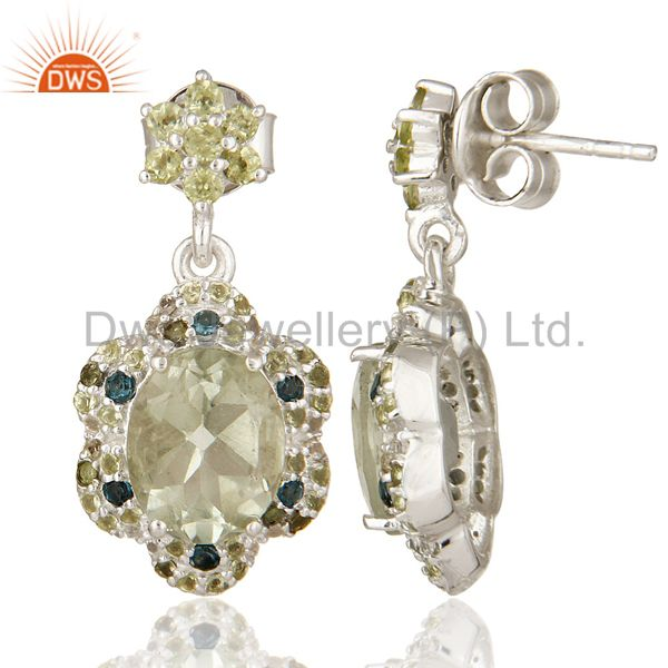 Suppliers Amethyst, Blue Topaz And Peridot Dangle Sterling Silver Earring With White Topaz