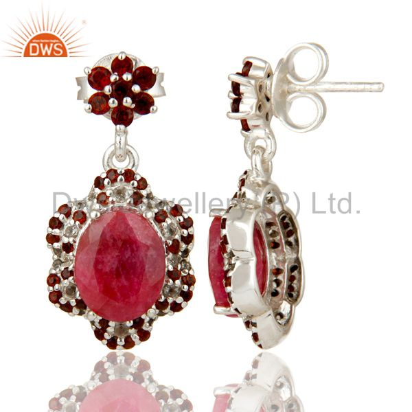 Suppliers Ruby and Garnet Dangle Sterling Silver Earring With White Topaz