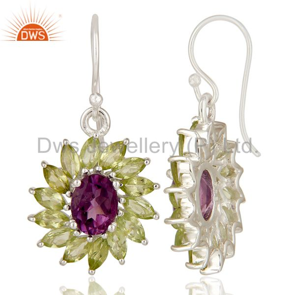 Suppliers 925 Sterling Silver Amethyst And Peridot Gemstone Dangle Cluster Earrings