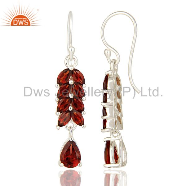 Suppliers Natural Garnet Genuine Sterling Silver Gemstone Solitaire Dangle Earrings
