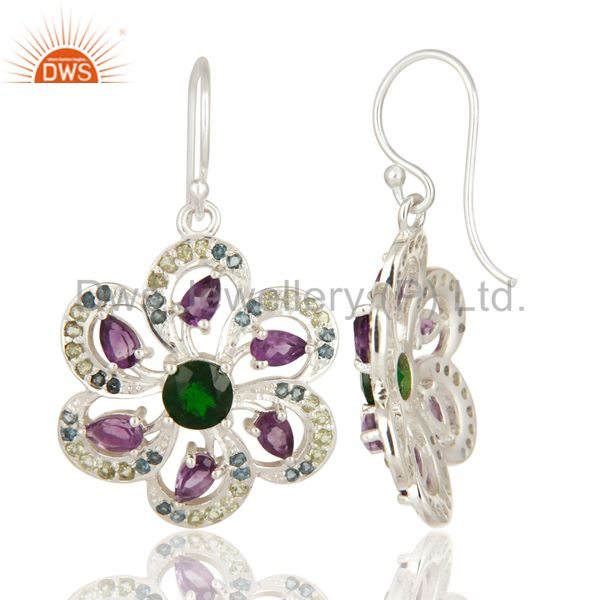 Suppliers Amethyst, Blue Topaz, Peridot And Chrome Diopside Sterling Silver Flower Earring