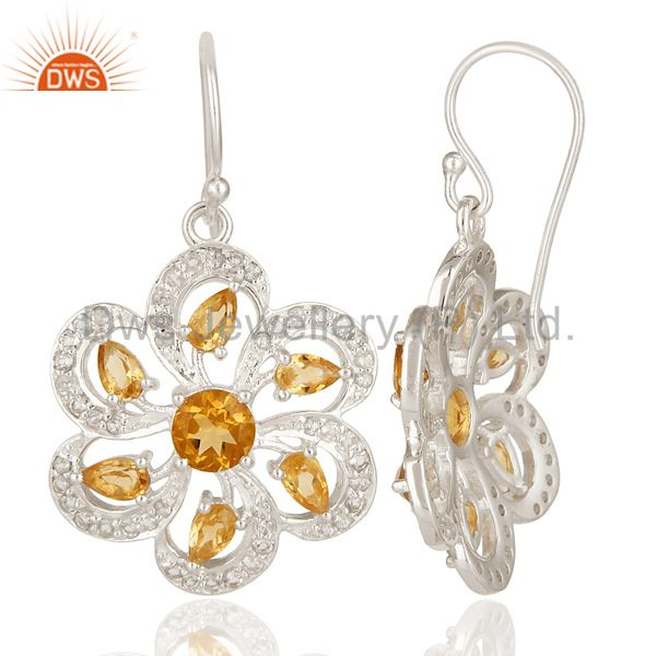 Suppliers 925 Sterling Silver Citrine And White Topaz Cluster Floral Dangle Earrings
