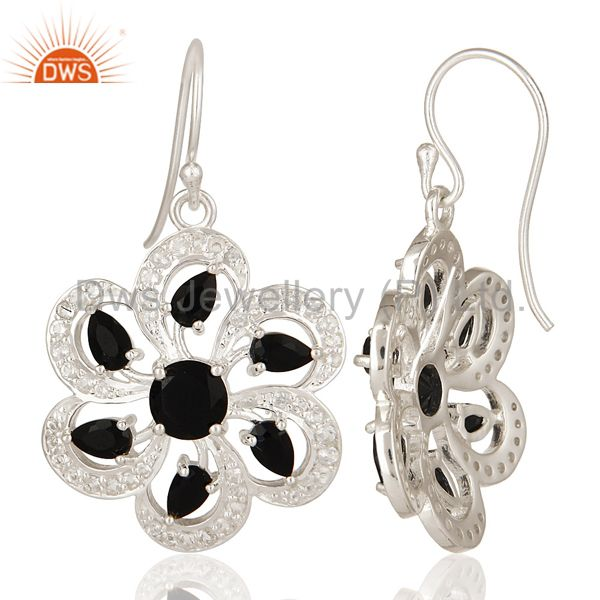 Suppliers 925 Sterling Silver Black Onyx And White Topaz Floral Cluster Earrings