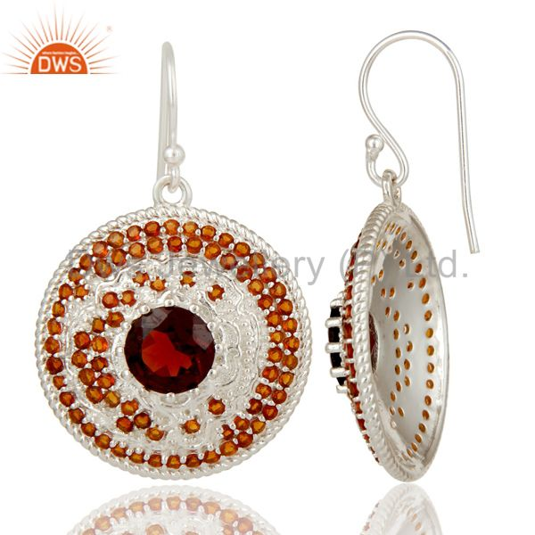 Suppliers 925 Sterling Silver Citrine and Garnet Gemstone Disc Designer Dangle Earrings