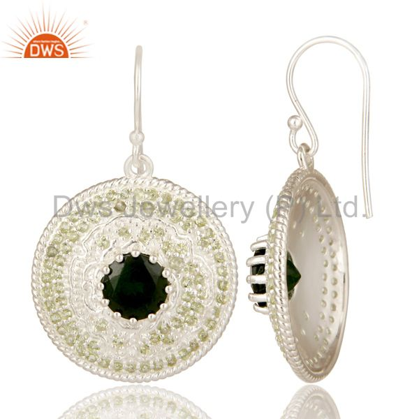 Suppliers 925 Sterling Silver Chrome Diopside And Peridot Disc Design Dangle Earrings
