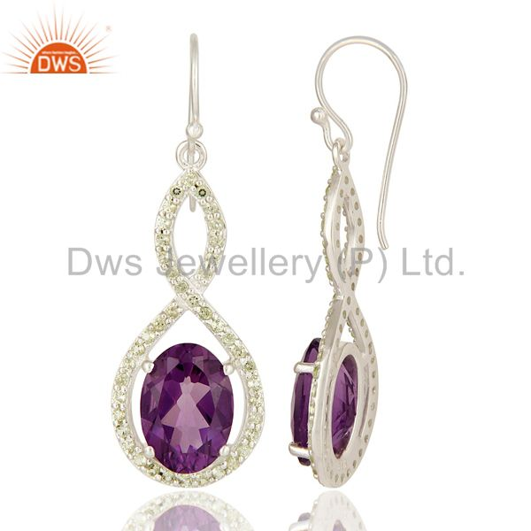 Suppliers Natural Amethyst Sterling Silver Peridot Gemstone Accent Designer Dangle Earring