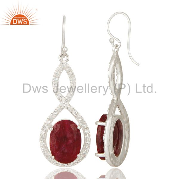 Suppliers Oval Ruby Corundum And White Topaz Solitaire Sterling Silver Dangle Earrings