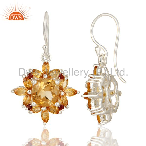Suppliers Natural Cushion-Cut Citrine Gemstone Sterling Silver Earrings With Garnet