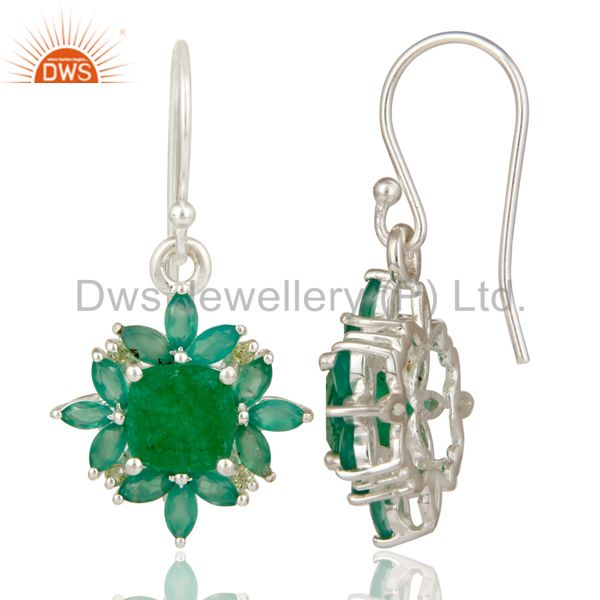 Suppliers Natural Peridot Green Aventurine and Onyx Gemstone Sterling Silver Earrings