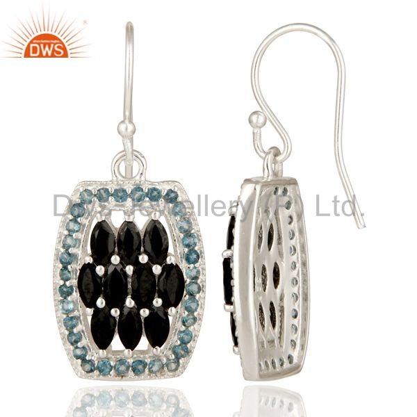 Suppliers 925 Sterling Silver London Blue Topaz And Black Onyx Cluster Dangle Earrings