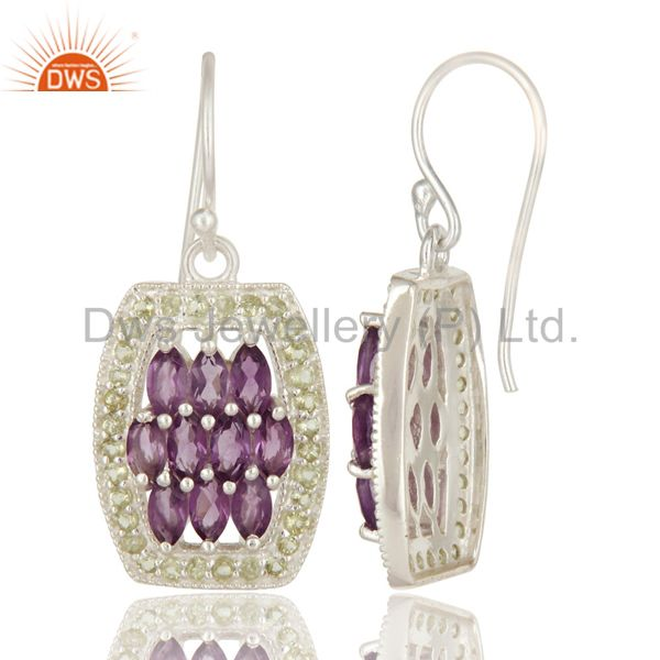 Suppliers Natural Amethyst And Peridot Sterling Silver Solitaire Dangle Earrings