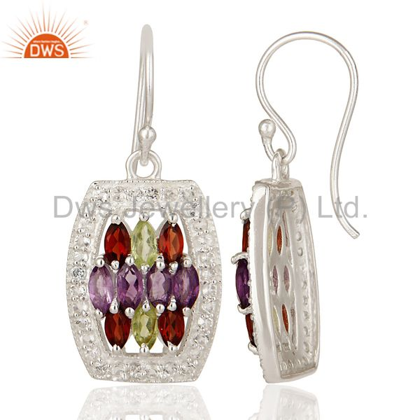 Suppliers Amethyst, Garnet And Peridot Sterling Silver Designer Earrings With White Topaz