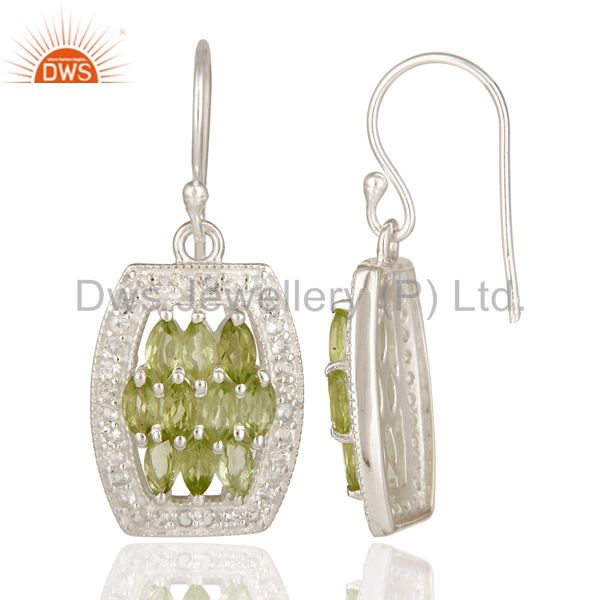 Suppliers Genuine 925 Sterling Silver Peridot And White Topaz Cluster Dangle Earrings