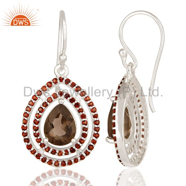 Suppliers Garnet And Smoky Quartz Gemstone Sterling Silver Dangle Earrings