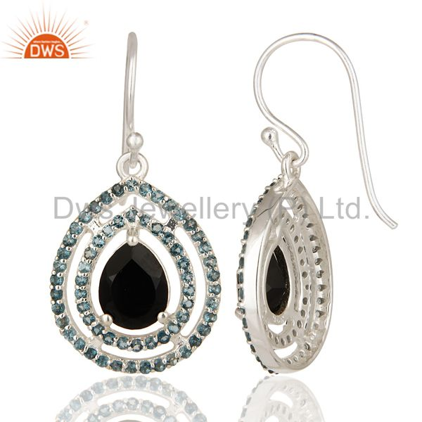 Suppliers Natural Black Onyx And Blue Topaz Sterling Silver Hook Dangle Earrings