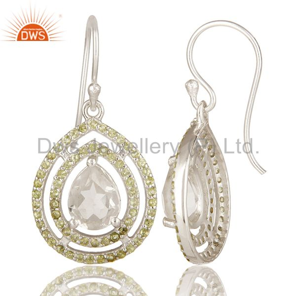 Suppliers 925 Solid Sterling Silver Crystal Quartz And Peridot Gemstone Earrings