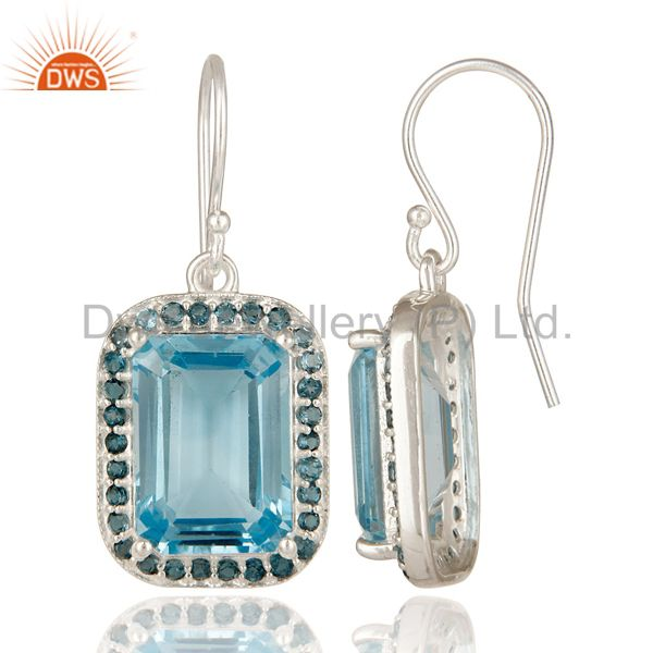 Suppliers 925 Sterling Silver Natural London Blue Topaz Prong Set Gemstone Dangle Earrings