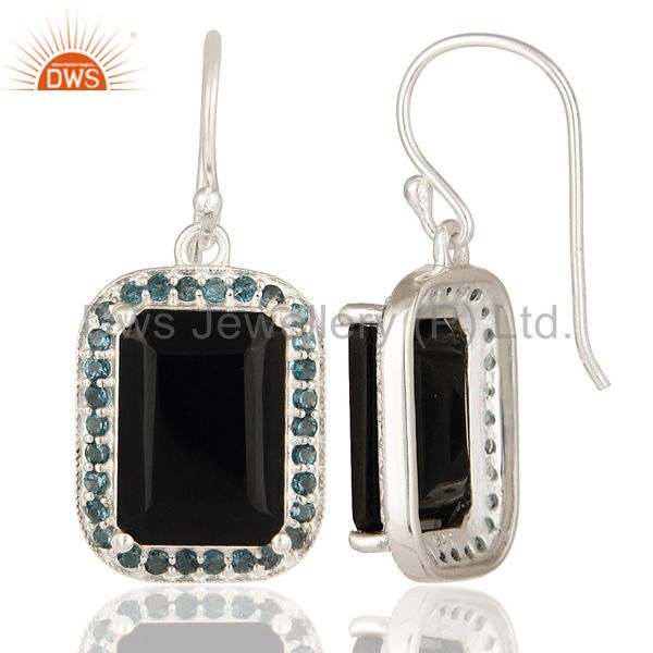 Suppliers 925 Sterling Silver Black Onyx And Blue Topaz Gemstone Drop Earrings
