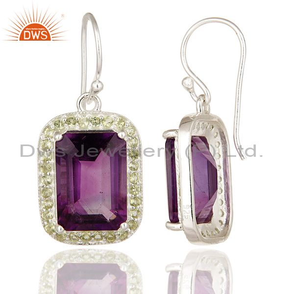 Suppliers Emerald Cut Natural Amethyst Gemstone 925 Sterling Silver Dangle Earrings