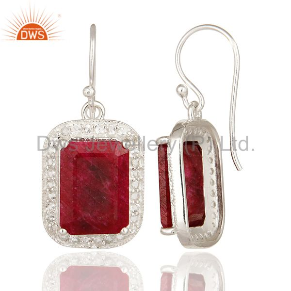 Suppliers 925 Sterling Silver Dyed Ruby And White Topaz Dangle Earrings