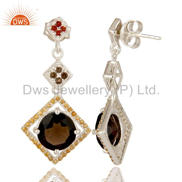 Suppliers 925 Sterling Silver Citrine, Garnet And Smoky Quartz Dangle Earrings