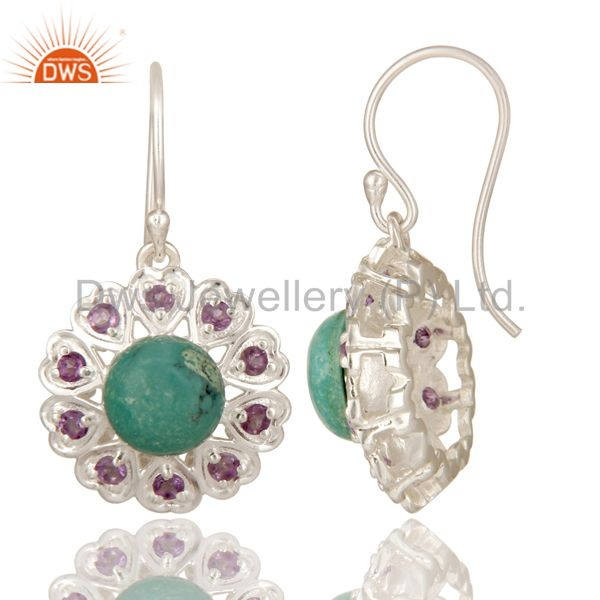 Suppliers 925 Sterling Silver Natural Turquoise And Amethyst Gemstone Dangle Earrings