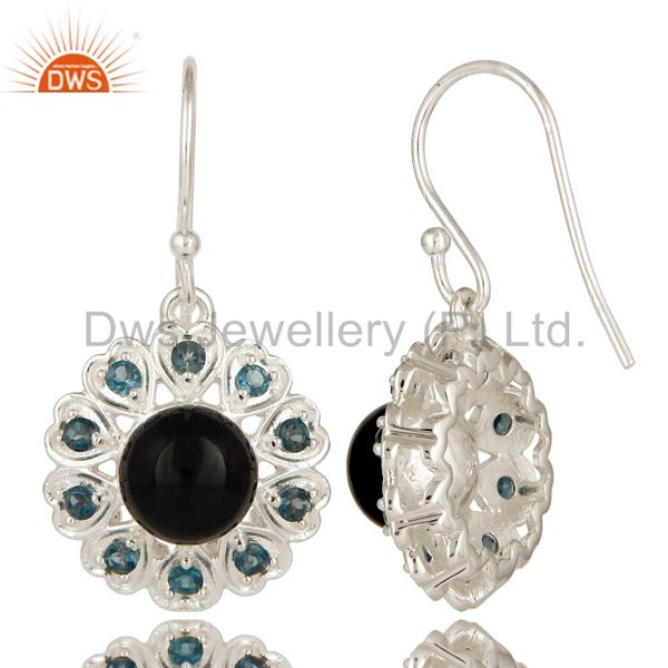Suppliers 925 Sterling Silver Natural Black Onyx And Blue Topaz Gemstone Dangle Earrings