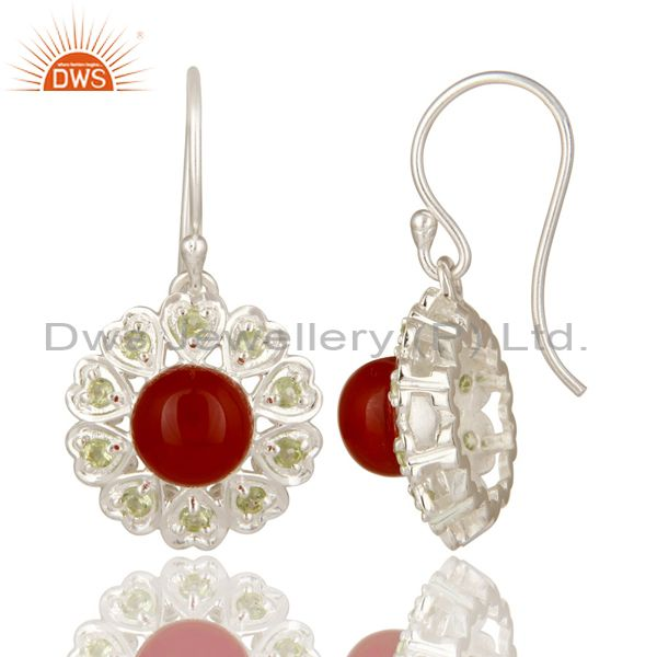 Suppliers 925 Sterling Silver Red Onyx And Peridot Gemstone Designer Heart Earrings