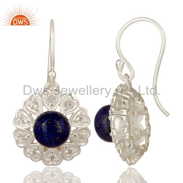 Suppliers Lapis Lazuli And White Topaz Gemstone Sterling Silver Designer Heart Earrings