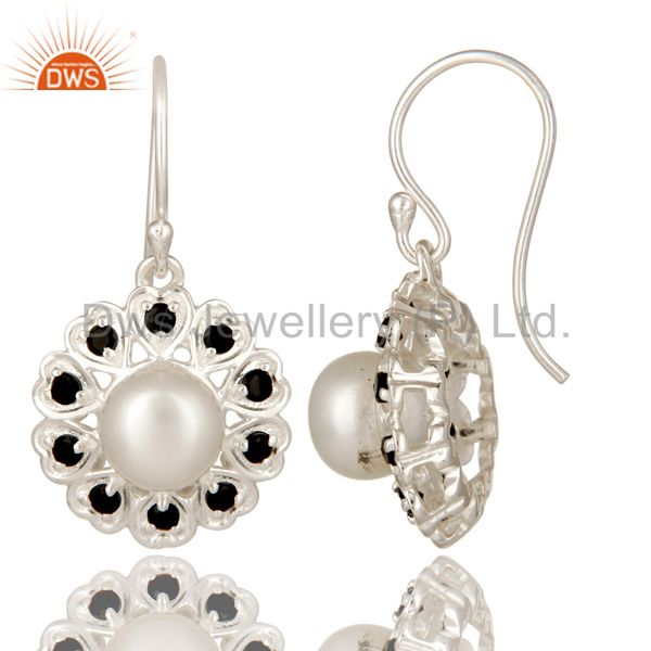 Suppliers 925 Sterling Silver White Pearl And Black Onyx Gemstone Designer Dangle Earrings