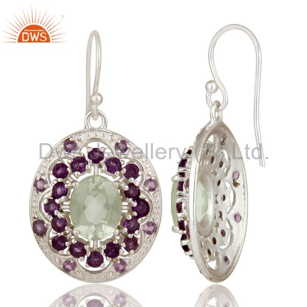 Suppliers 925 Sterling Silver Purple Amethyst And Green Amethyst Designer Dangle Earrings