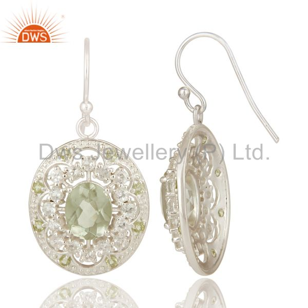 Suppliers 925 Sterling Silver Green Amethyst, Peridot And White Topaz Dangle Earrings