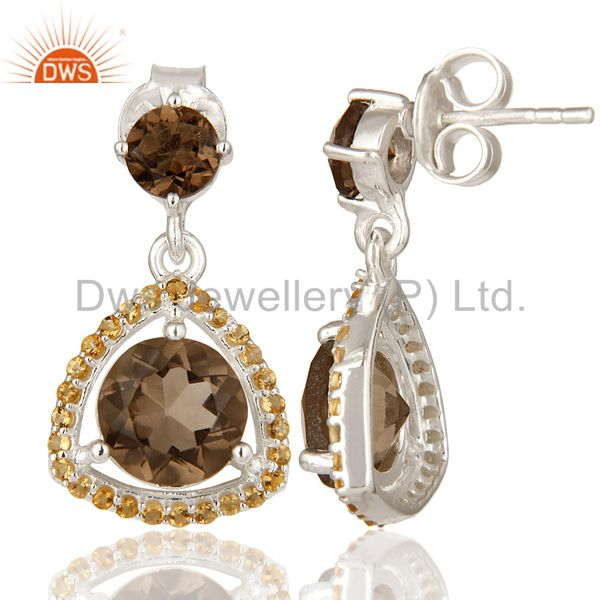 Suppliers Designer Citrine And Smoky Quartz Gemstone Dangle Earrings In Sterling Silver