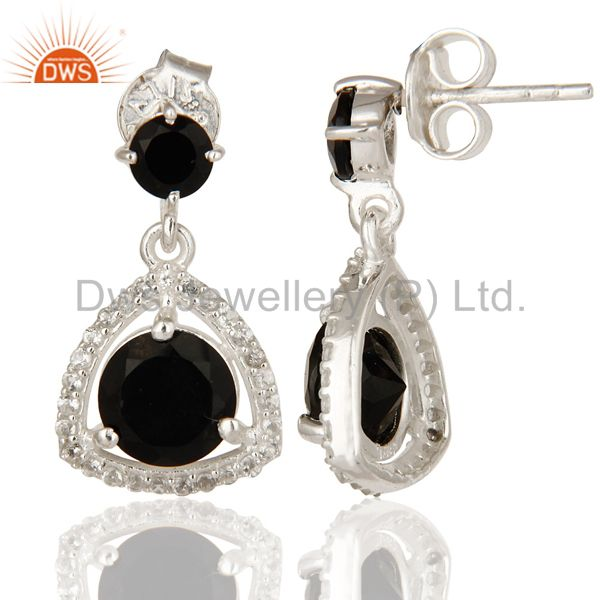 Suppliers Genuine 925 Sterling Silver White Topaz And Black Onyx Prong Set Earrings