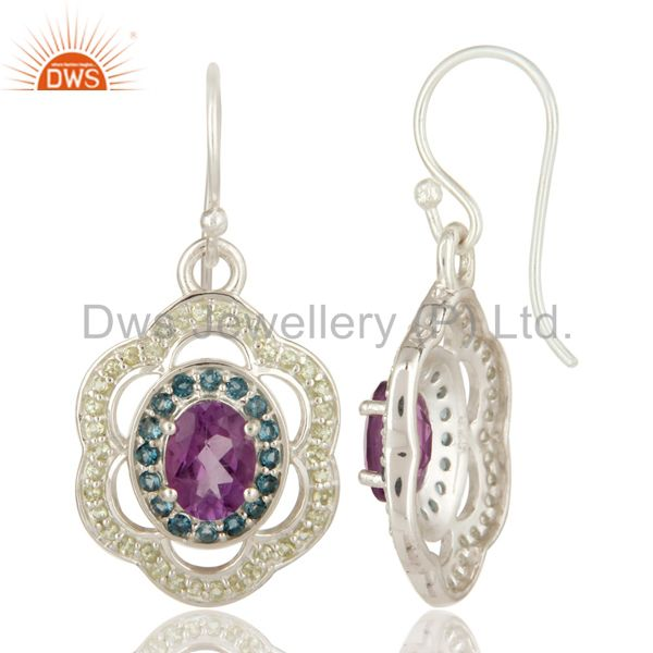 Suppliers Amethyst, Blue Topaz And Peridot Gemstone Designer Earrings in Sterling Silver