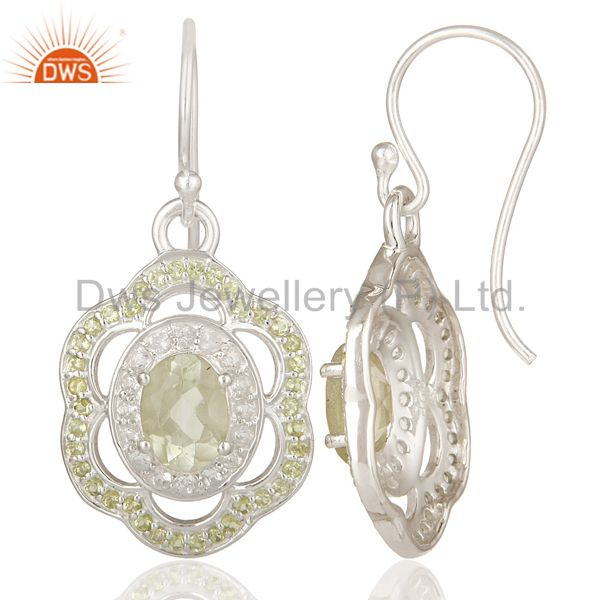 Suppliers Green Amethyst, Peridot And White Topaz Sterling Silver Designer Earrings
