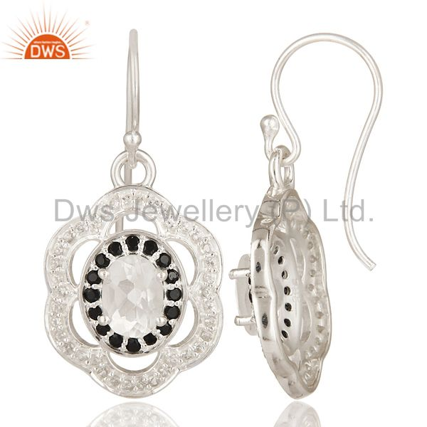 Suppliers Sterling Silver Crystal Quartz & Black Spinel Dangle Earrings With White Topaz