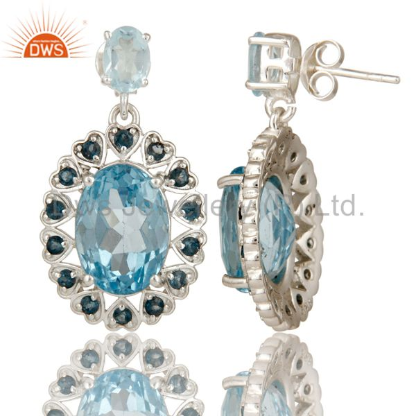 Suppliers 925 Sterling Silver Natural London Blue Topaz Fine Gemstone Dangle Earrings