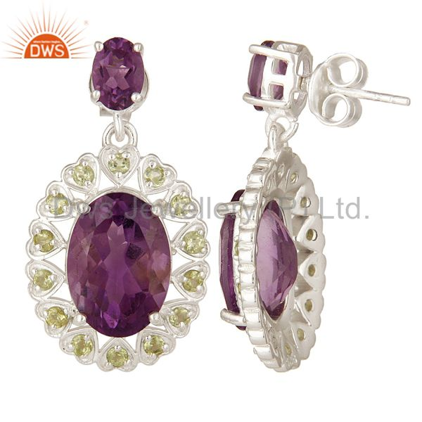 Suppliers 925 Sterling Silver Natural Amethyst And Peridot Fine Gemstone Dangle Earrings