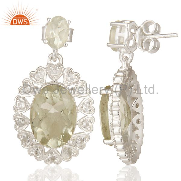 Suppliers Green Amethyst And White Topaz Gemstone Dangle Earrings In Sterling Silver