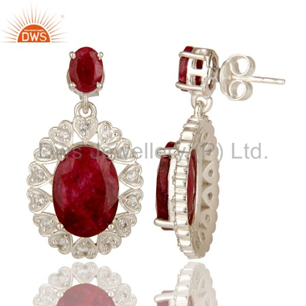 Suppliers Ruby Red Corundum And White Topaz Sterling Silver Prong Set Dangle Earrings
