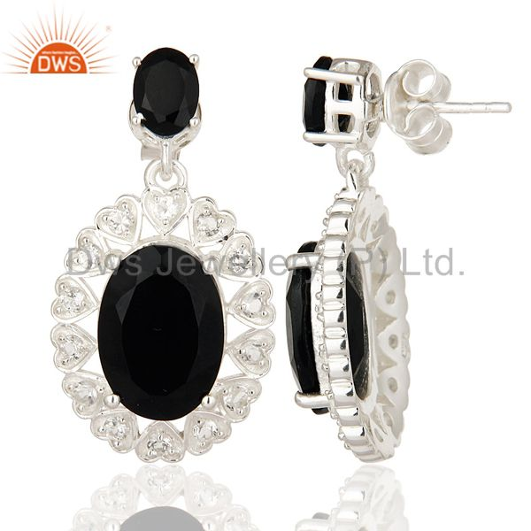 Suppliers Oval Cut Black Onyx And White Topaz Sterling Silver Designer Earrings