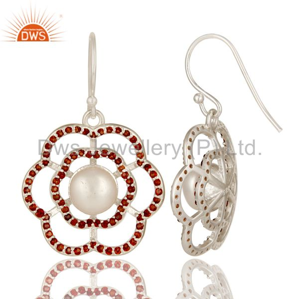 Suppliers 925 Sterling Silver Garnet And Natural White Pearl Designer Dangle Earrings