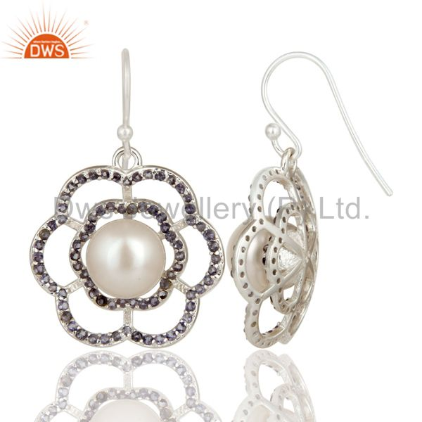 Suppliers 925 Sterling Silver White Pearl And Iolite Flower Dangle Earrings