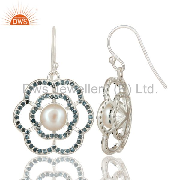 Suppliers 925 Sterling Silver White Pearl And Blue Topaz Flower Dangle Earrings