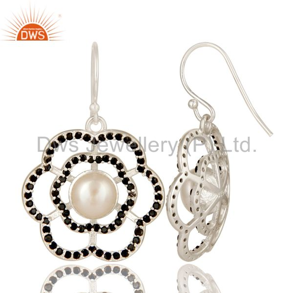 Suppliers 925 Sterling Silver Black Spinel And Natural White Pearl Designer Dangle Earring