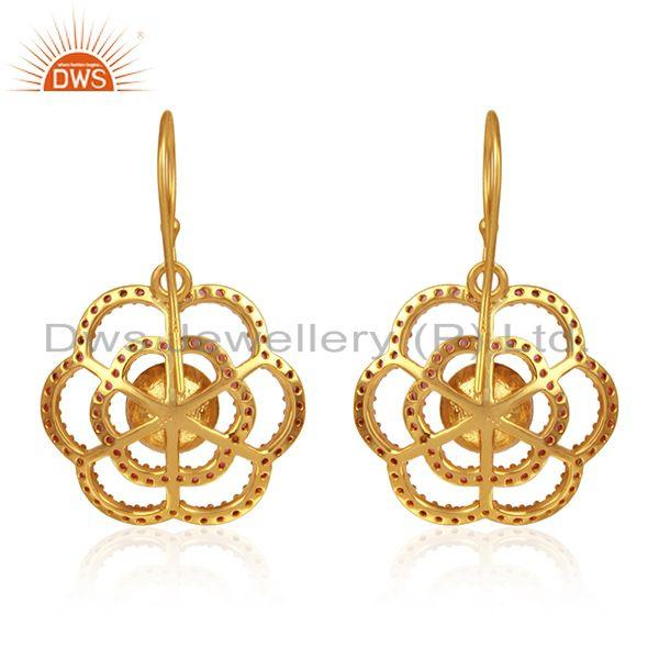 Designer of Red zircon pearl gemstone flower gold plated silver earrings