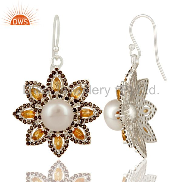 Suppliers 925 Sterling Silver Citrine Smokey And Pearl Flower Designer Dangle Earrings