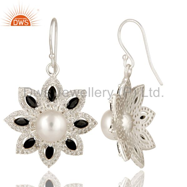 Suppliers 925 Sterling Silver Pearl, Black Onyx And White Topaz Flower Dangle Earrings