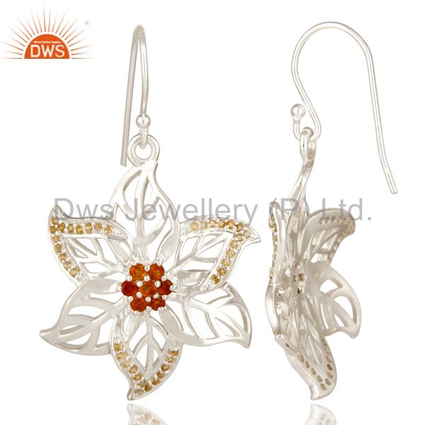 Suppliers 925 Sterling Silver Natural Citrine Gemstone Floral Design Dangle Earrings